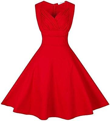 ZAFUL Vintage Vestidos Años 50 Retro Audrey Hepburn Falda Plisada Vestido de Noche Fiesta de Coctel sin Mangas Cuello V Moda