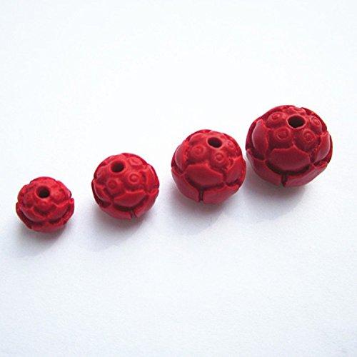 Jiaa Gravur Lotus Perlen Dansha Zubehör Handgefertigte Perlen Perlen Perlen Zubehör,Rot,14mm