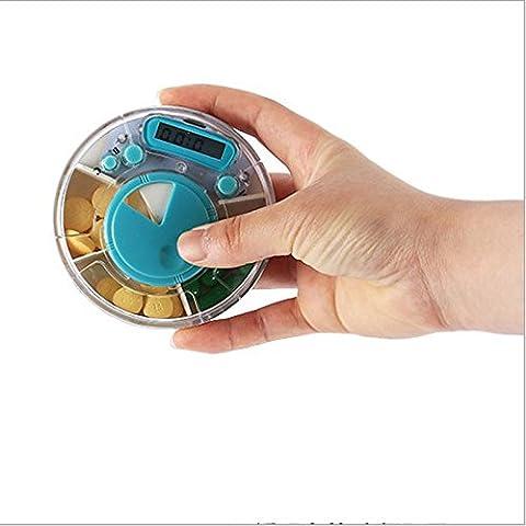 AQPDJ Partición Múltiple portátil Pildorero medicamentos para admitir grandes volúmenes de sonido en los cartuchos llevar medicación Recordatorio , azul