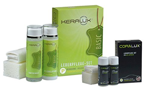 KERALUX Lederpflegeset P 2x200ml, sehr gut für Longlife Leder geeignet UND: CORALUX Autoleder Pflege Set Mini 2x50ml LCK KERAGIL -