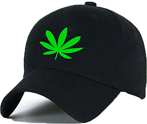 Baumwolle Baseball Cap Caps Ganja Weed 420 Leaf COCAINE CAVIAR Multi colors with Adjustable Strap Snapback (black green)