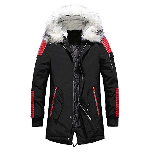 Gobling Fashion Herren Langer Mantel Pullover, Schwarz Large rot