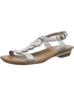 Rieker 63478 Women Open Toe Damen Offene Sandalen mit Blockabsatz