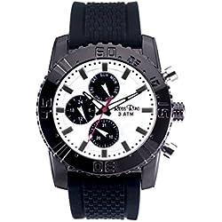 Ross Rino Draco Unisex Quarzuhr mit schwarzem Zifferblatt Analog-Anzeige und schwarz Silikon Armband