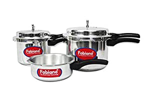 Fabiano (ISI) Pressure cooker 3pc set - 2,3,5L with Outer Lid Kitchen combo