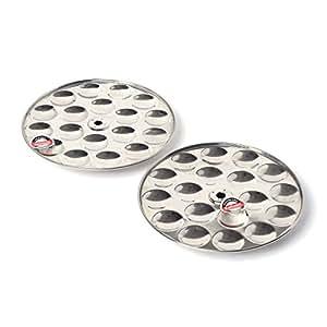Embassy Stainless Steel Mini Idli Plate, 2-Pieces, 18 Idlis / Plate