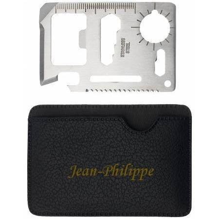 Outil de poche de survie avec un tenant engravé avec le prénom: Jean-Philippe (Noms/Prénoms)