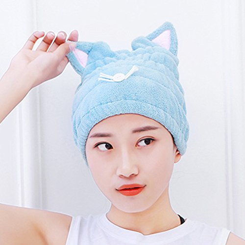 Haar trocknen Handtuch Wrap, Coral Fleece Schnell Haar Turban Handtuch Süße Kitty in Super Wasser saugfähig Haar Gap für Spa Bad (Katze Gewaschen Cap)