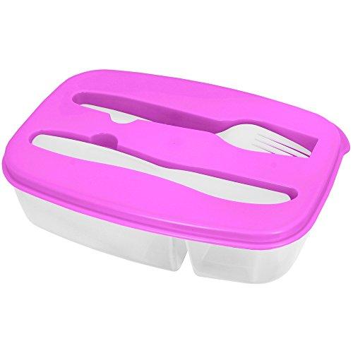 Promobo -Lunch Box Panier Repas Boite Alimentaire Deux Compartiments Et Couverts Rose