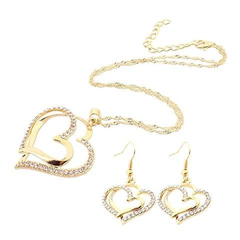 Merssavo Lot de Parure Collier et Boucles d'Oreilles Style Double Coeur avec strass Bijoux pour Femme Fille Or