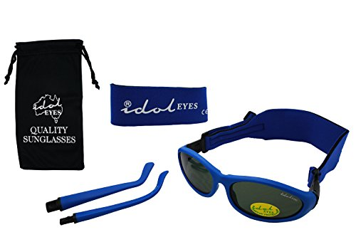 Baby Wrapz 2 Convertible Sunglasses 0-5 Years With 2 Headbands & Attachable Arms (Blue)