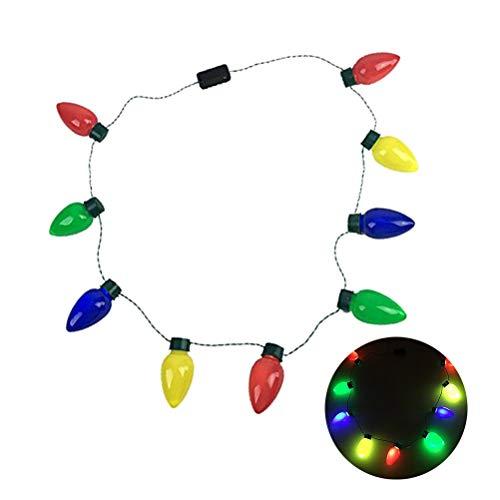 n Glühbirne Halskette blinkt Weihnachtslicht Halskette Leuchten Spielzeug Party Favors - 4pcs ()