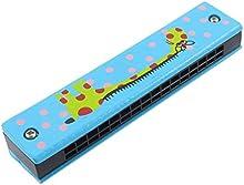 Armonica - SODIAL(R)Armonica de ninos de 32 agujeros de serie dual de modelo de jirafa de madera Harmonica Azul