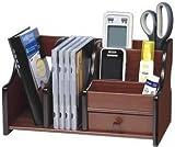 #5: Woogor Big Pen Stand Office Stationery Wooden Mobile Holder For Office Desk 8035 ,Brown