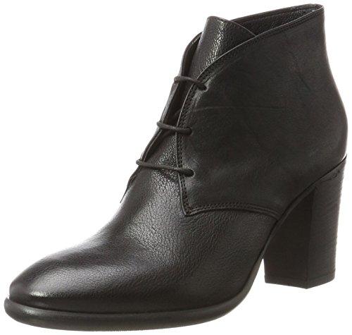 Fred de la Bretoniere Damen Ankle Boot mit Schnürung Blockabsatz Stiefel Schwarz (Black)