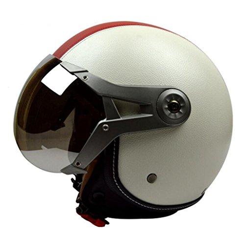 DLD Motorrad Helm Open-Scooter Helm Imitation Air Force Pilot Helm Sicherheit Mode Persönlichkeit Retro für Männer Frauen (Farbe : White Red, größe : L)
