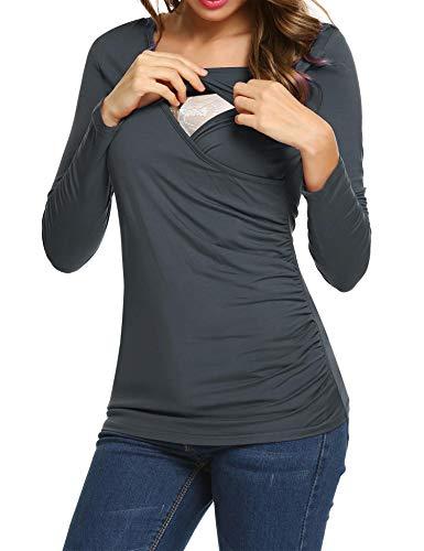 bac90a2f7682 UNibelle Donna Maglia Premaman Allattamento Maglieria per maternità Casual  Top Maniche Lunghe Grigio Scuro