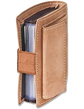 Woodland - billetera Super-compacto con XXL tarjeteros para 18 tarjetas de cuero de búfalo natural