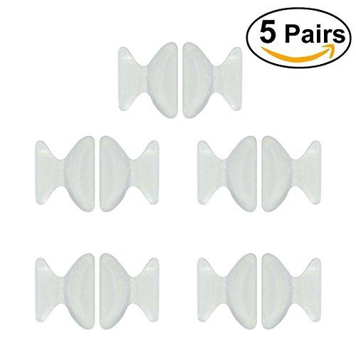 MINGZE Par de almohadillas de nariz de 5 pares de almohadillas de nariz de silicona antideslizante de 1,8 mm (Blanco)