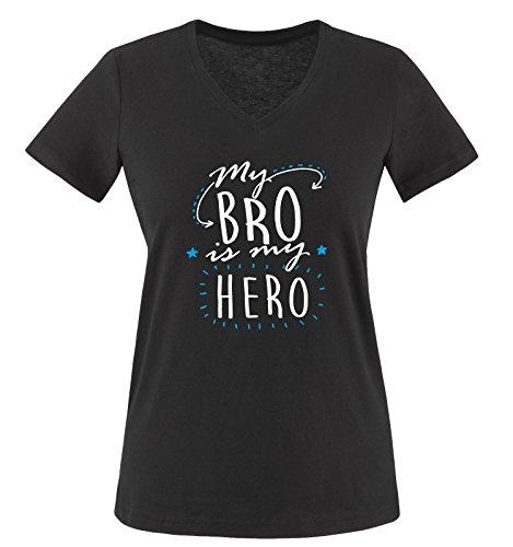 Comedy Shirts - My BRO is My Hero - Damen V-Neck T-Shirt - Schwarz/Weiss-Blau Gr. S -