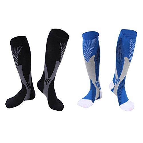 WINOMO 2 Paar Damen Herren Kompression Socken Knie Hohe Strumpf Hohe Elastische Sport Athletic Laufsocken für Übung Fußball Ball - Größe L / XL (Schwarz Blau) (Knie-hohe Sport-socken)