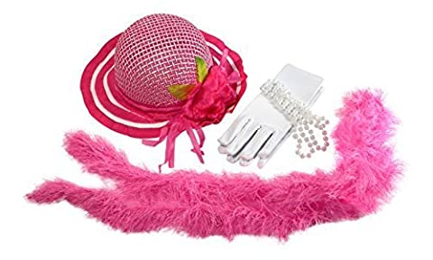 Girls Tea Party Dress Up Play Set with Pink Sun Hat Boa Faux Pearl Necklace and Gloves Kaylee by Cutie Collections