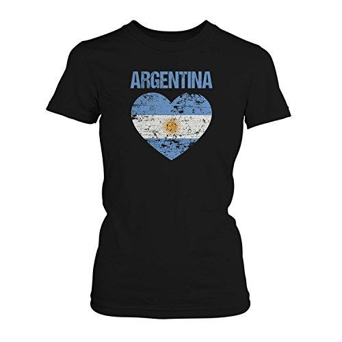 Fashionalarm Damen T-Shirt - Argentina Herz Flagge | 2018 Fan Shirt Trikot Fußball Weltmeisterschaft WM Argentinien, Farbe:Schwarz;Größe:5XL
