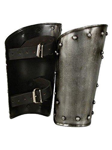 1 Paar Armschienen Dark Warrior aus Stahl Armschützer Armschoner LARP Mittelalter Schaukampf Wikinger M-L (L)