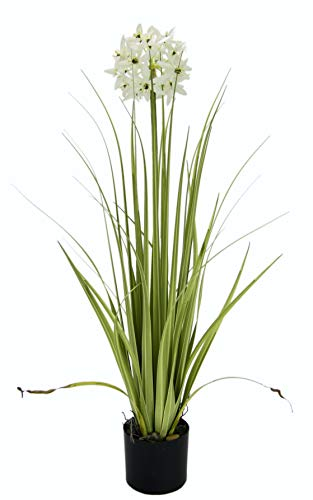 Gras-Busch im Topf, Kunst-Pflanze, Künstliche-Blume, Polyester, Kunststoff, weiß, 68 cm hoch, 16 cm breit ()