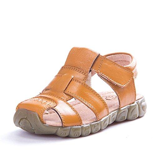 Unisex-Kinder Sandalen aus Leder Jungen Mädchen Geschlossen-Toe Sommer Strand Schuhe Outdoor Beach & Pool Trekkingsandalen Klettverschluss 21-36, Gelb, 24 EU