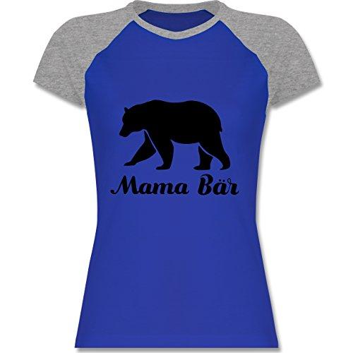 Shirtracer Muttertag - Mama Bär - Zweifarbiges Baseballshirt/Raglan T-Shirt für Damen Royalblau/Grau meliert