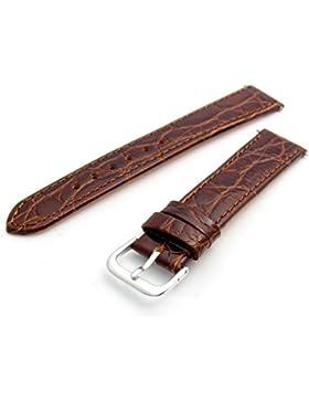 Echtes Leder Uhrenarmband flach Krokodil-Korn 20mm braun mit Chrom (Silber Farbe) Schnalle