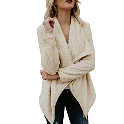 Damen Plüschjacke, Amcool Winter Jacke Mantel Steppjacke Outwear Damen Mantel Plüsch Winter Stepp Warmen Outwear Cardigan Lange Ärmel Einfarbig Parka Strickjacken -
