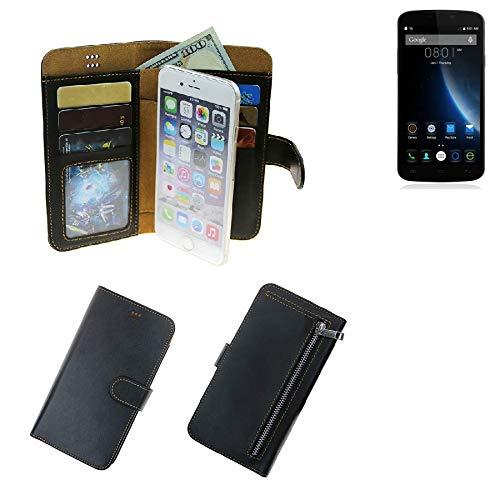 K-S-Trade® Für Doogee X6S Schutz Hülle Portemonnaie Case Phone Cover Slim Klapphülle Handytasche Schutzhülle Handyhülle Schwarz Aus Kunstleder (1 STK)