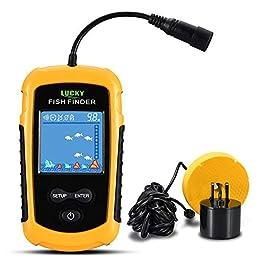 Lixada Détecteur de Poisson, Écran Couleur LCD Portable 100M Ecosondeur Pêche Détecteur de Poisson Filaire Portée Gamme Sonar Sondeurs