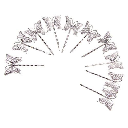 10 Vintage Haar Haarnadeln Haarklemmen Haarclip clips Greift Dias Schmetterling Rotguss - drei, 75mm x 3mm