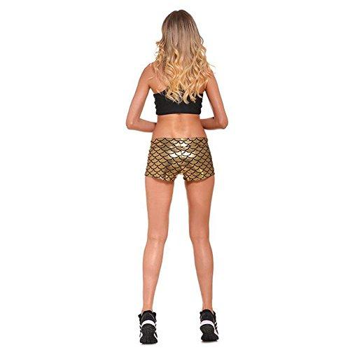 Meijunter Femme Mermaid Échelle de poisson sirène Sport Mini Pantalons Courts gold