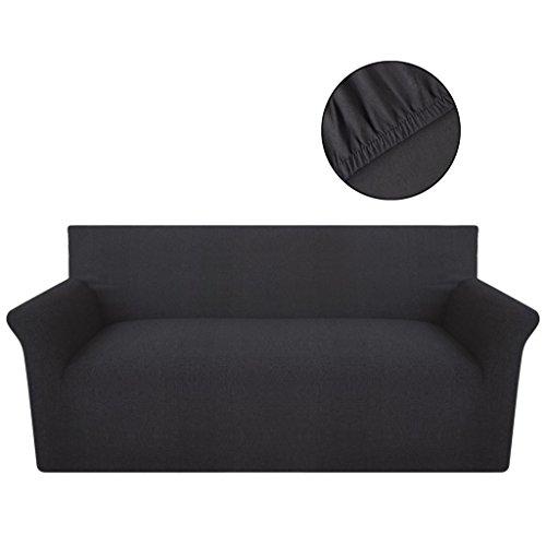 Festnight Sofahusse Sofa Hussen Stretchhusse Stretch Sofabezug aus Baumwolljersey Anthrazit für 3-Sitzer-Sofa