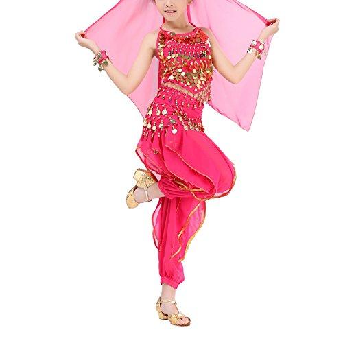 Kinder Bauchtanz Kostüm, ESHOO Harem Hosen + Halter Top + Taille Gürtel + Schleier + Armbänder Outfits Set für (Asian Halloween Kostüm)