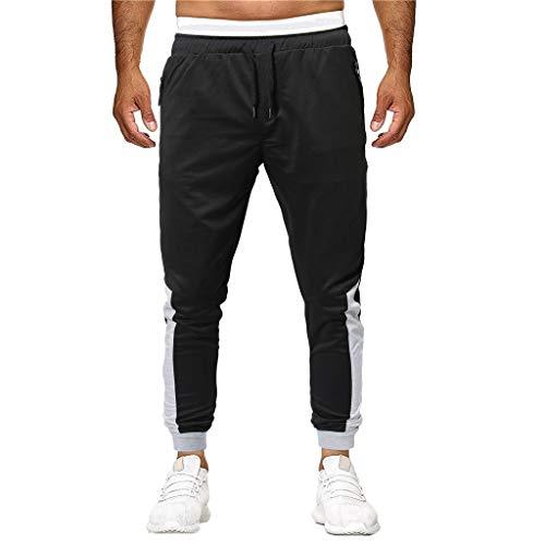 MNRIUOCII Sporthose Herren Lang MäNner Modern Patchwork Taschen Kordelzug Jogginghose Slim Fit Yoga Trainingshose Freizeithose Arbeitshose