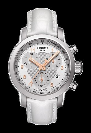 Tissot Women's 35mm White Genuine Leather Band Steel Case Automatic Chronograph Watch T055.217.16.032.01