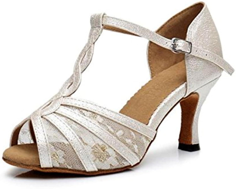 JSHOE Femmes T-Strap Open Toe Design Mode Mode Mode Satin Chaussures De Danse Latine Salsa Ballroom  s Talons Hauts...B079YV3PHTParent cdd163