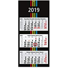 Made in Germany by Geiger-Notes 13 x 18 cm Kalender mit Drehmechanik//Business-Kalender Design-Modell in schwarz//rot 3-Monats-Tischkalender 2019 2020 Roll-Up