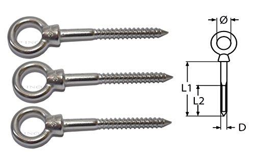 Anelli filettati in acciaio inox 304, per legno, A2,lunghezza 60mm, 6mm, 3 pezzi