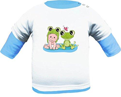 KLEINER FRATZ Baby Shirt Multicolor (Farbe Weiss-Hellblau) (Größe 86-92) Langarm Friends Frosch (Frosch Langarm-shirt)