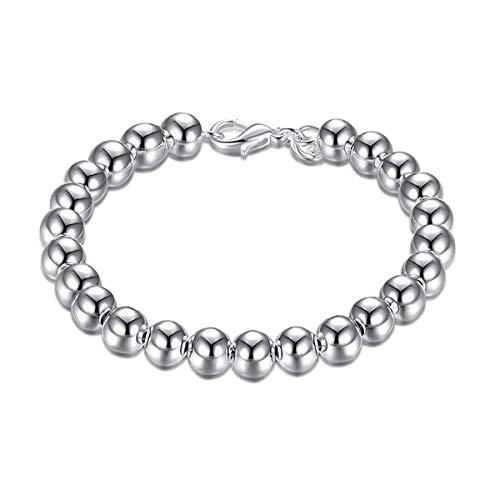 WFYJY-925 Versilbert 8-Mm-Perlen-Armband Mode-Minimalistischen Silberschmuck Joker Zubehör Personalisierte Geschenke.