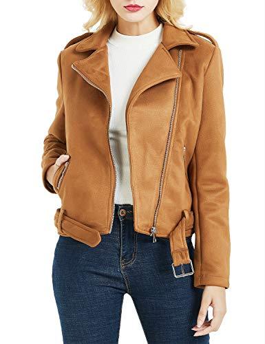 Bellivera Bellivera Damen Kunstwildleder Kurze Jacke (2 Farben zur Auswahl), Moto Jacket, Reißverschlusstaschen, Fahrradjacke aus Kunstwildleder, Brau, S