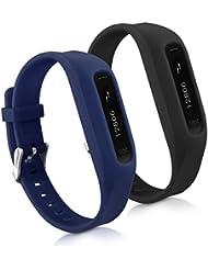 kwmobile 2en1: 2x Bracelet de remplacement pour le sport pour Fitbit One en noir bleu foncé Dimensions intérieures: env. 14 - 20 cm - Bracelet en silicone avec fermoir de montre sans tracker