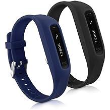 kwmobile 2in1 Set: 2x Sport Ersatzarmband für Fitbit One - Silikon Armband mit Verschluss ohne Tracker Schwarz Dunkelblau - Innenmaße: ca. 14 - 20 cm