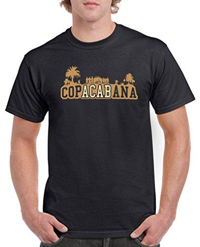 Comedy Shirts - Copacabana Palmen - Herren T-Shirt - Schwarz/Hellbraun-Beige Gr. L